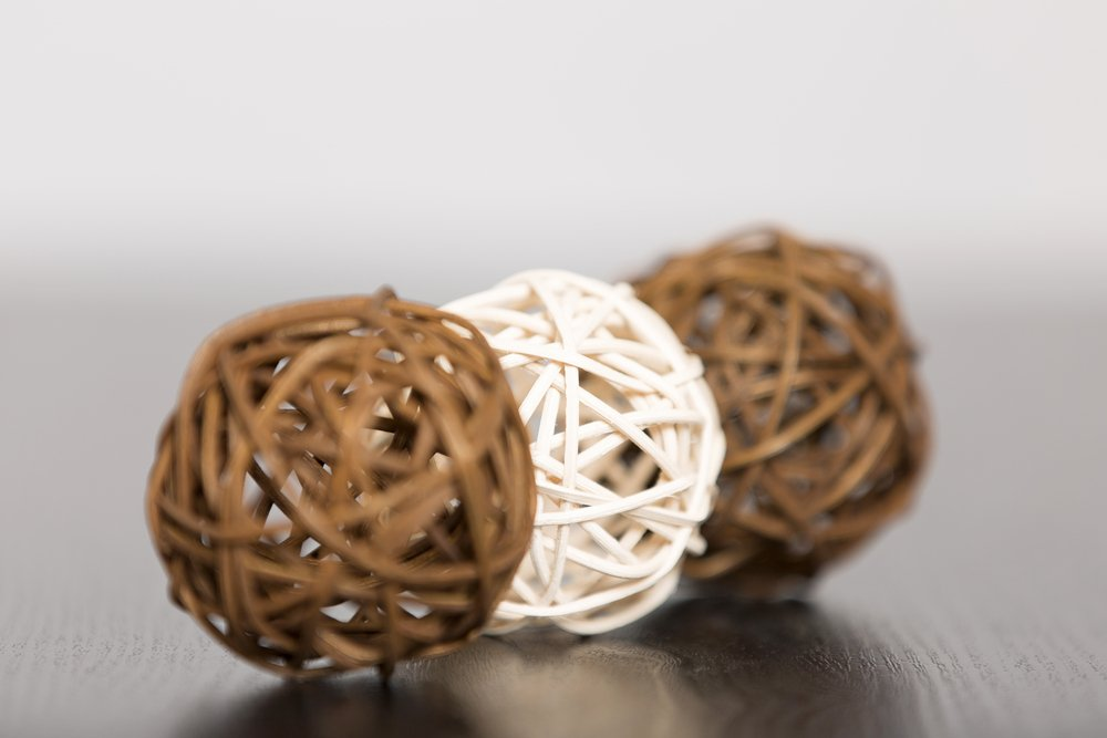 Three wicker balls together in a stylish design