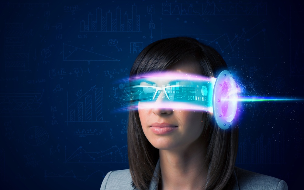 Woman from future with high tech smartphone glasses concept